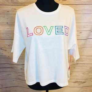 "Betsey Johnson white ""Love"" Crop Top"